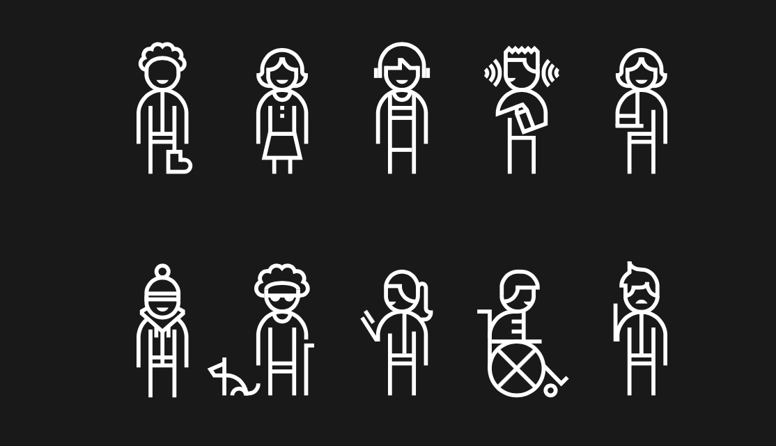 Image showing stick figures with different disabilities.